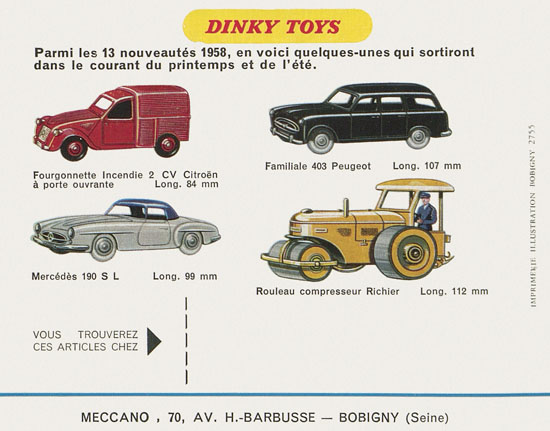 Dinky Toys catalogue 1958